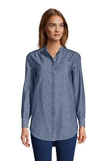 Women's Chambray A-Line Long Sleeve Tunic Blouse