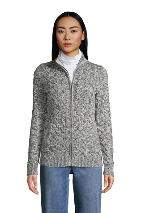 Women's Cotton Cable Drifter Fancy Cable Mock Neck Zip Up Sweater