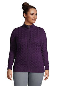 Women's Plus Size Cotton Cable Drifter Fancy Cable Mock Neck Zip Up Sweater