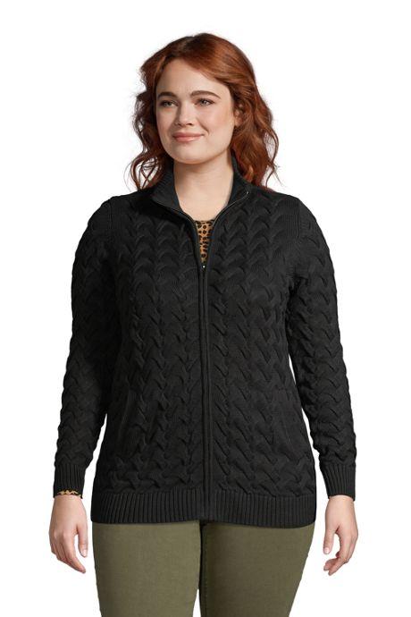 Women's Plus Size Cotton Cable Drifter Fancy Cable Mock Neck Zip Up Sweater