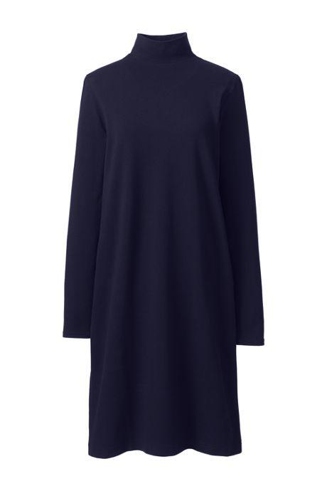 Women's Plus Size Long Sleeve Starfish Mock Neck Dress