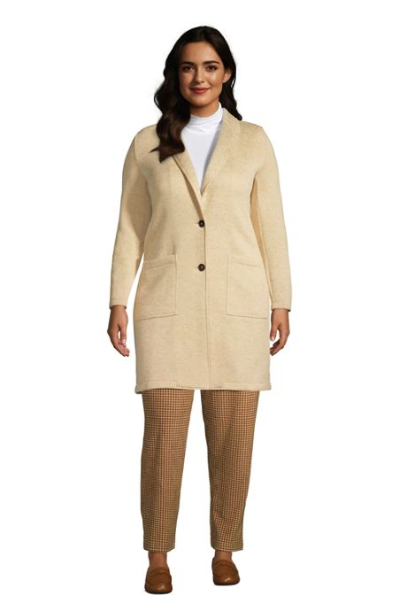 Women's Plus Size Sweater Fleece Long Blazer Coat