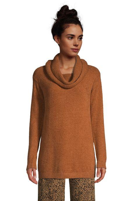 Women's Petite Lounge Cowl Neck Tunic Sweater