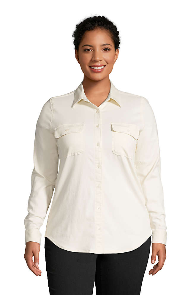 Women's Plus Size Denim Long Sleeve Shirt, Front