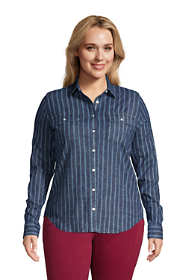 Women's Plus Size Denim Long Sleeve Shirt