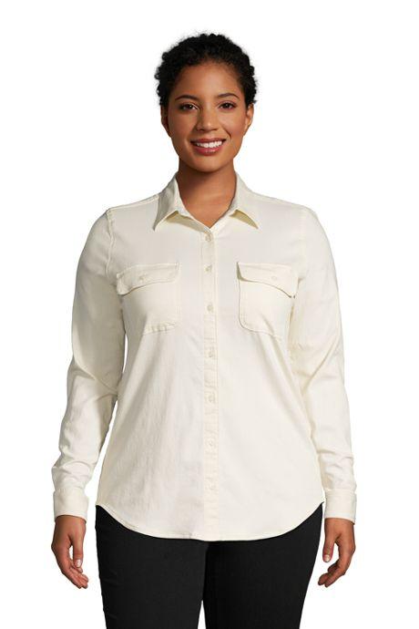 Women's Plus Size Denim Long Sleeve Shirt