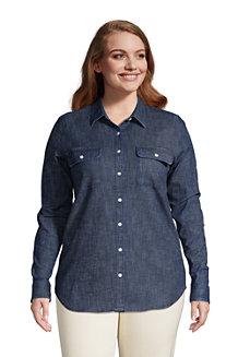 Jeansbluse aus Stretch-Denim für Damen