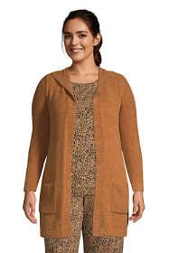 Women's Plus Size Lounge Hooded Open Cardigan Sweater