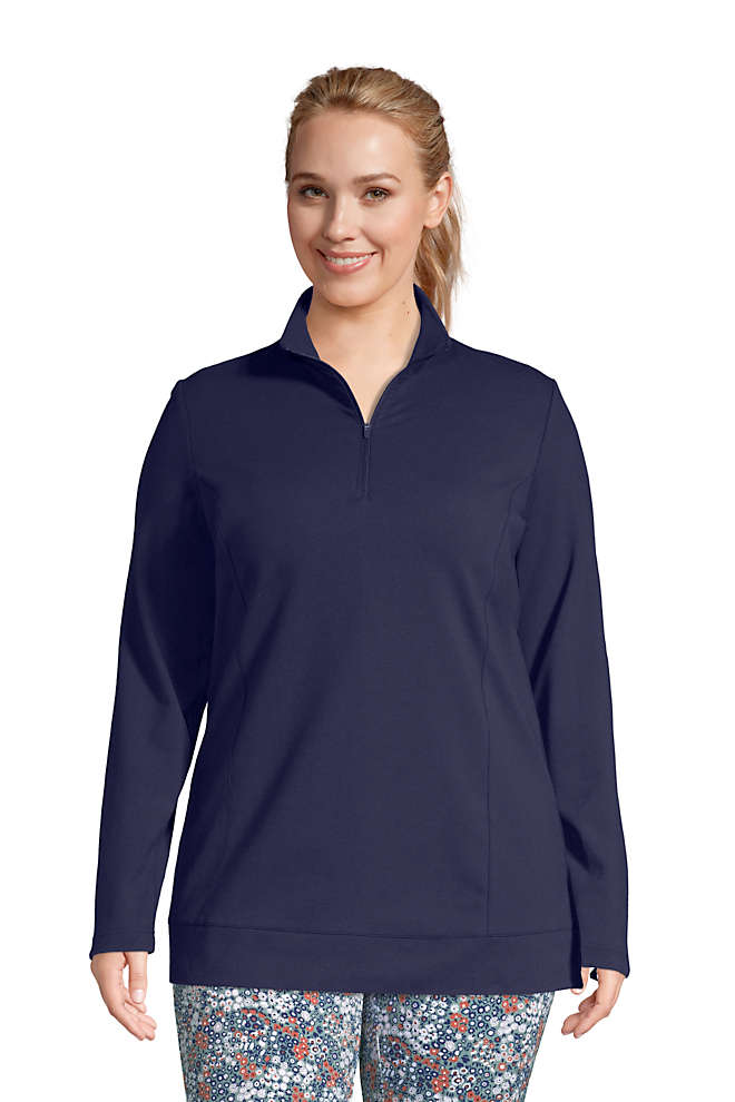 Women's Plus Size Starfish Long Sleeve Quarter Zip Tunic, Front