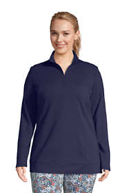 Women's Plus Size Starfish Long Sleeve Quarter Zip Tunic