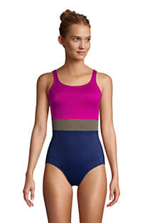 Women's Mastectomy Chlorine Resistant Scoop Neck Soft Cup Tugless Sporty One Piece Swimsuit, Front