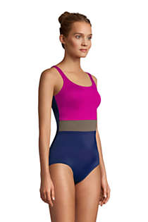 Women's Mastectomy Chlorine Resistant Scoop Neck Soft Cup Tugless Sporty One Piece Swimsuit, alternative image