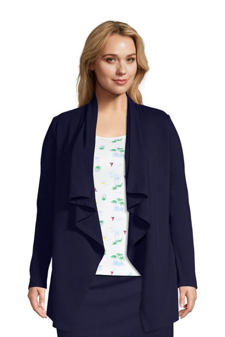 Women's Plus Size Starfish Long Sleeve Drape Front Cardigan