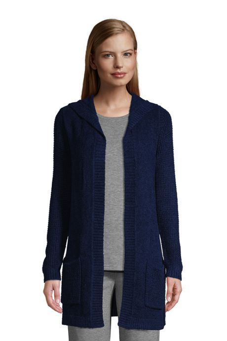 Women's Petite Lounge Hooded Open Cardigan Sweater