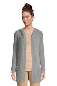 Women's Petite Lounge Hooded Open Cardigan Sweater