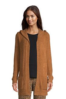 Women's Hooded Long Open Cardigan