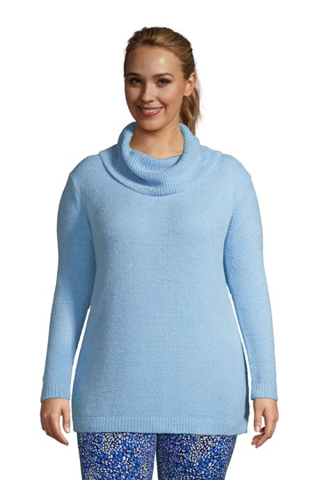 Women's Plus Size Lounge Cowl Neck Tunic Sweater