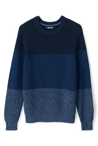Men's Raglan Sleeve Drifter Cotton Jumper, Marl Stripe