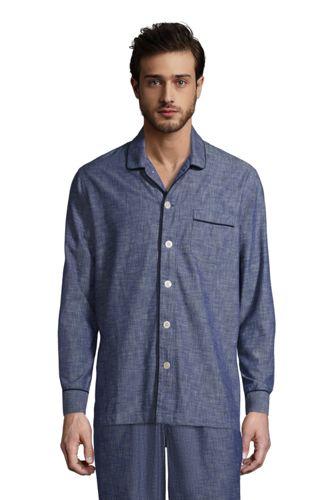 Chemise de Pyjama en Coton Chambray à Manches Longues, Homme Stature Standard