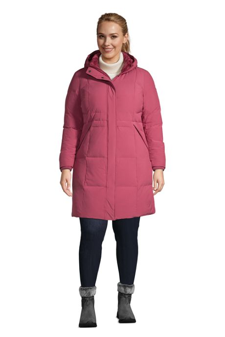 Women's Plus Size Comfort Stretch Winter Long Down Coat with Hood