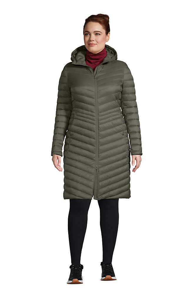 Women's Plus Size Ultralight Packable Down Coat With Hood, Front