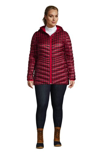 Women's Plus Size Ultralight Packable Down Jacket with Hood Print