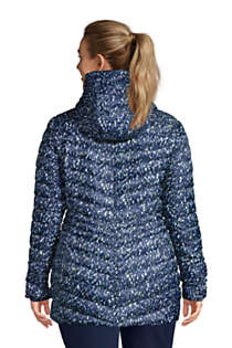 Women's Plus Size Ultralight Packable Down Jacket with Hood Print, Back