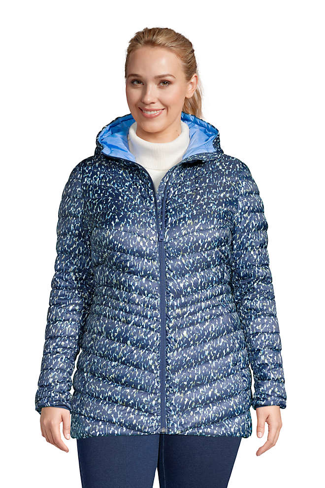 Women's Plus Size Ultralight Packable Down Jacket with Hood Print, Front