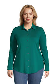 Women's Plus Size Lightweight Long Roll Tab Sleeve Button Down Tunic Top