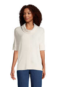 Women's Super Soft Elbow Sleeve Cowl Neck Pullover Top