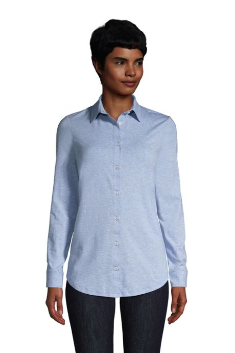 Women's Petite Lightweight Long Roll Tab Sleeve Button Down Tunic Top