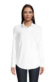 Women's Lightweight Long Roll Tab Sleeve Button Down Tunic Top