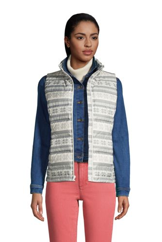 Women's Petite Down Winter Puffer Vest Print