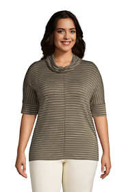 Women's Plus Size Super Soft Elbow Sleeve Cowl Neck Pullover Top