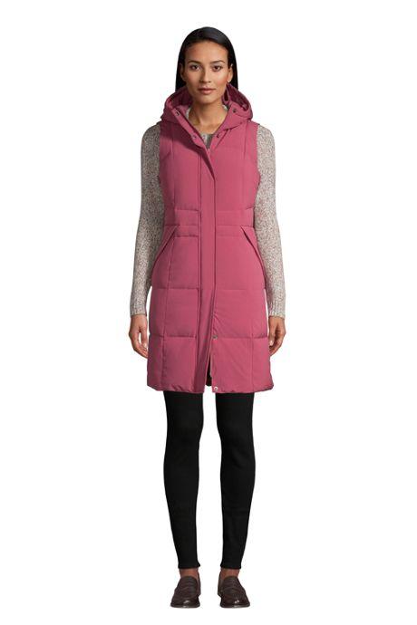 Women's Comfort Stretch Winter Long Down Vest with Hood