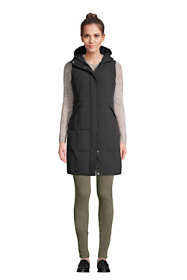 Women's Comfort Stretch Winter Long Down Vest with Hood