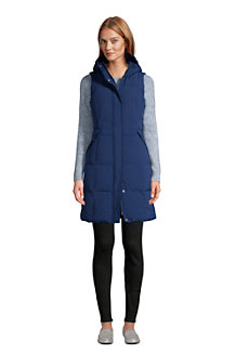 Women's Comfort Stretch Long Hooded Down Gilet