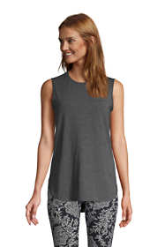 Women's Petite Moisture Wicking UPF Sun Crewneck Tunic Tank Top