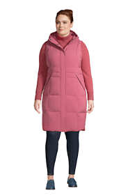 Women's Plus Size Comfort Stretch Winter Long Down Vest with Hood