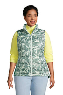 Women's Plus Size Down Winter Puffer Vest Print, Front