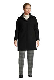 Women's Plus Size Petite Insulated Long Wool Dress Coat