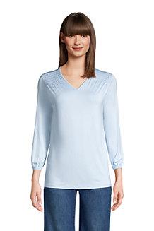Shirt mit V-Ausschnitt und 3/4-Ärmeln für Damen