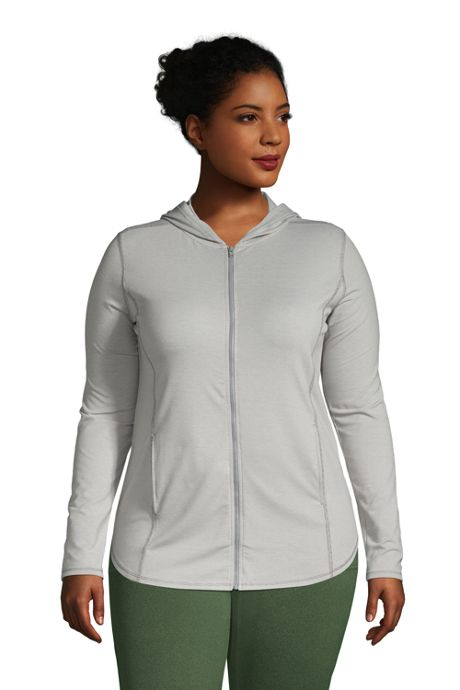 Women's Plus Size Moisture Wicking UPF Sun Full Zip Hoodie Tunic