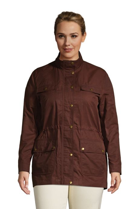 Women's Plus Size Waxed Water Resistant Utility Cotton Jacket