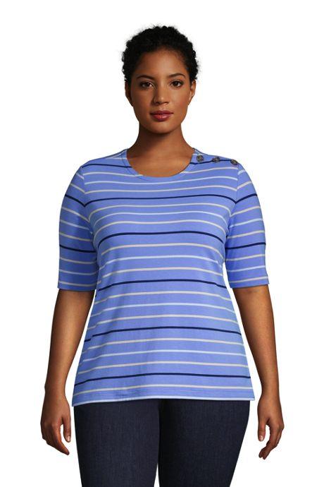 Women's Plus Size Lightweight Button Shoulder Elbow Sleeve Crewneck T-Shirt