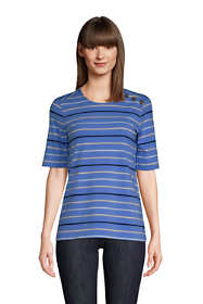 Women's Lightweight Button Shoulder Elbow Sleeve Crewneck T-Shirt