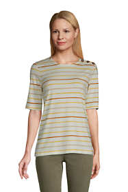Women's Lightweight Button Shoulder Elbow Sleeve Crewneck T-Shirt