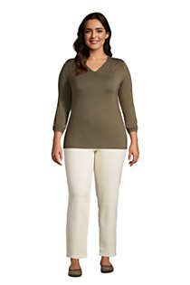 Women's Plus Size Jersey Knit 3/4 Sleeve V-neck Top, alternative image