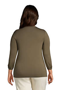 Women's Plus Size Jersey Knit 3/4 Sleeve V-neck Top, Back