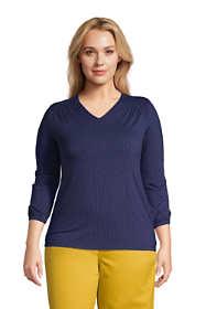 Women's Plus Size Jersey Knit 3/4 Sleeve V-neck Top